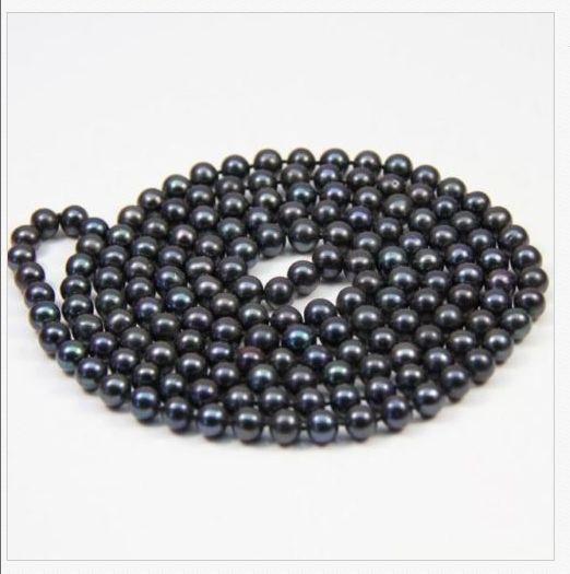 stunning AAA9-10mm round Tahitian black green pearl necklace 48inch14k/20stunning AAA9-10mm round Tahitian black green pearl necklace 48inch14k/20