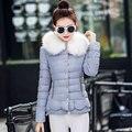 Inverno nova versão Coreana da roupa de forma Magro das mulheres de cabelo grande colar curto parágrafo espessamento Ms. jaqueta de algodão