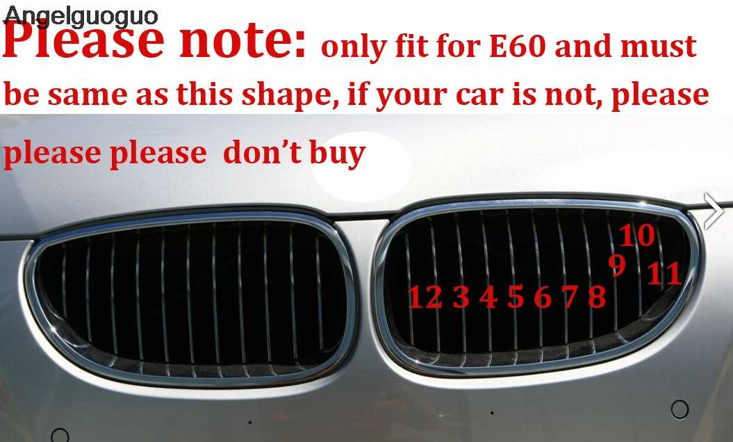 M Styling Car Front Grille Sport Strips Cover Stickers for 2004-2010 BMW 5 E60