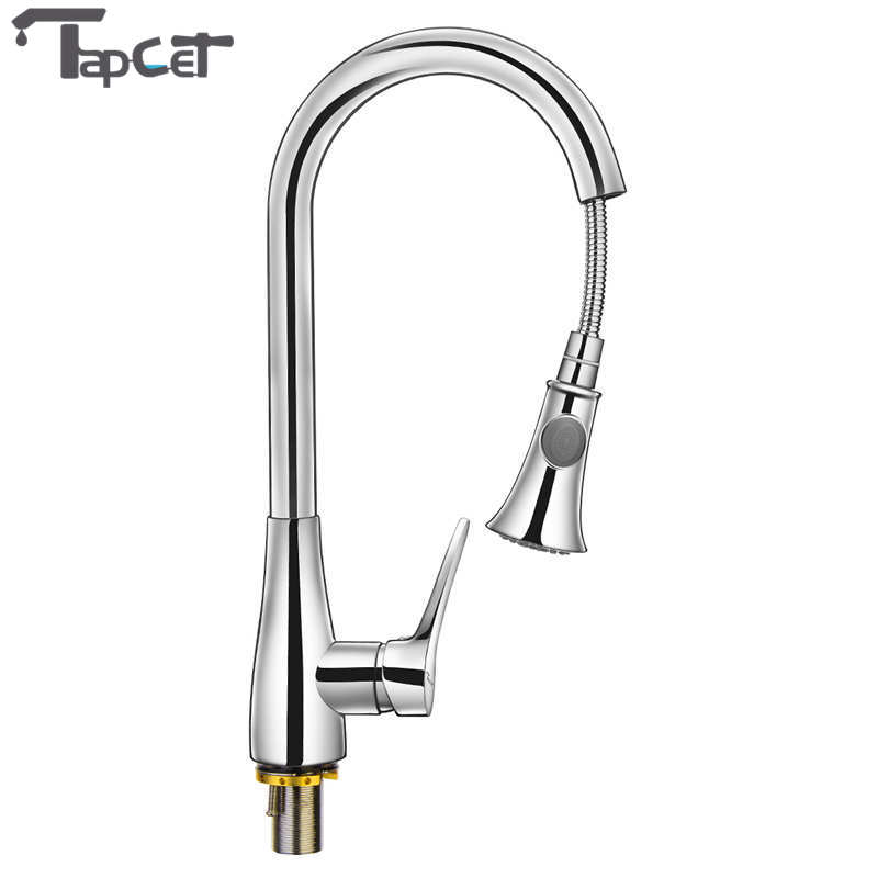 TAPCET 360 Degree Swivel Single Handle Kitchen Faucet Hot and Cold Water Faucet Deck Mounted Pull Out Spray Kitchen Taps flg kitchen faucet pull out deck mounted pull swivel 360 degree rotating cold and hot tap gold torneira dourada mixer tap 3023g