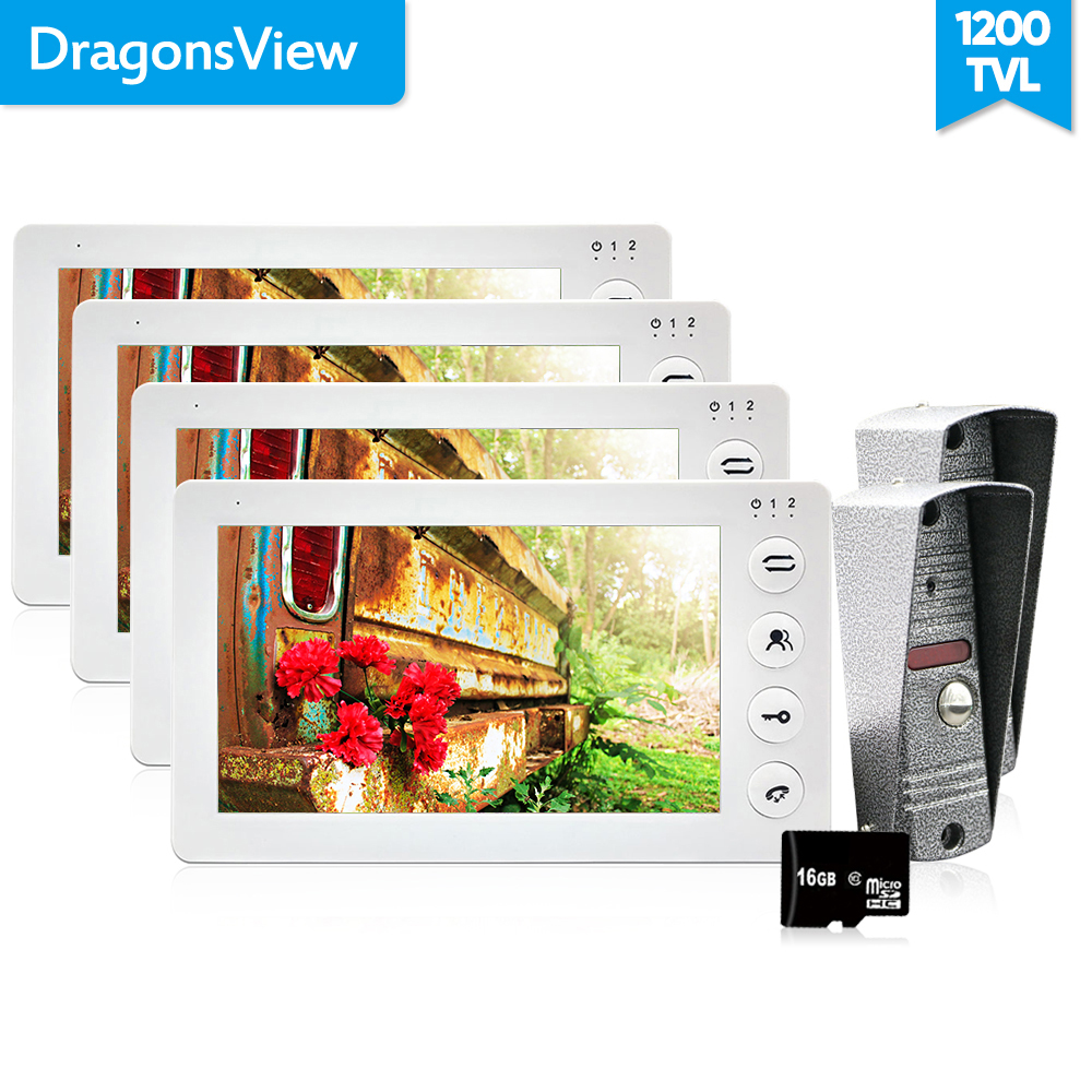 Dragonsview 7 Inch video door phone doorbell intercom 4 monitor and 2 Doorbell Camera 1200TVL Door