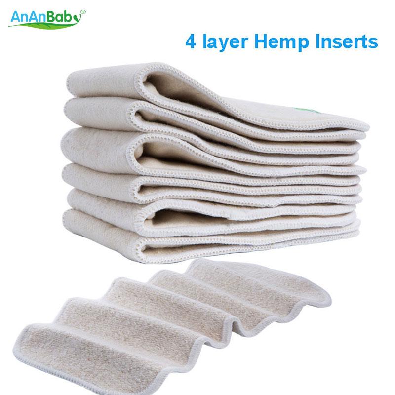 Free Shipping Organic Hemp 20pcs 4 Layers Hemp Inserts Reusable Baby Cloth Diapers Inserts