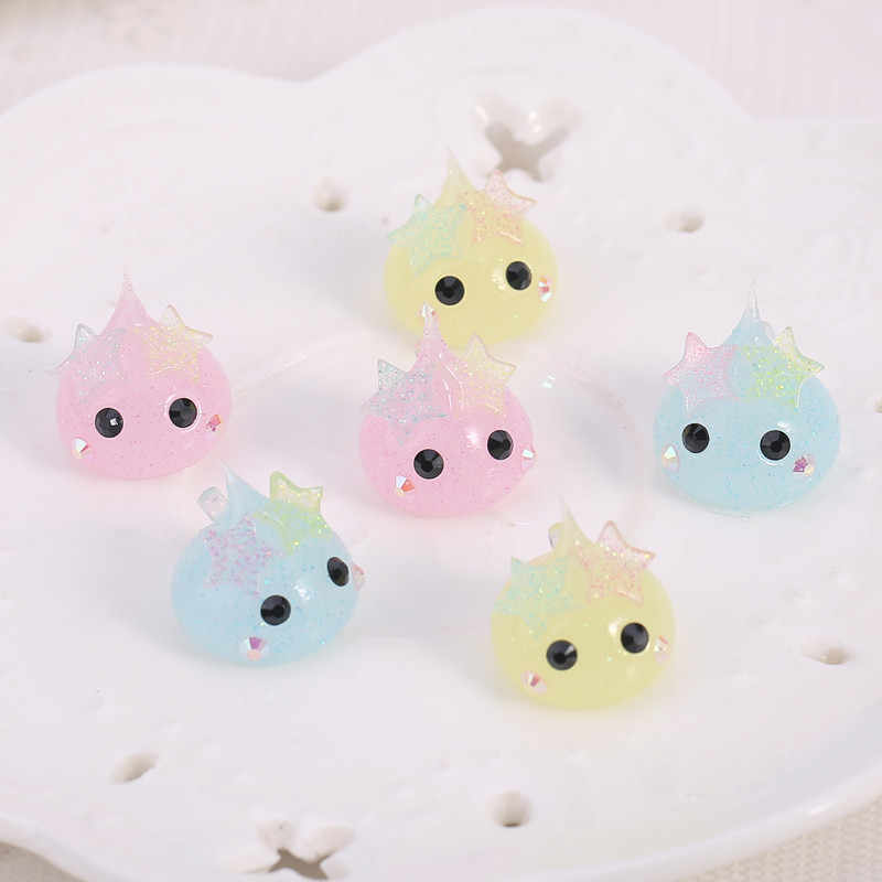 10pcs 18mm cartoon teardrop silicone charms hoppe chan glitter star necklace pendant for DIY accessory