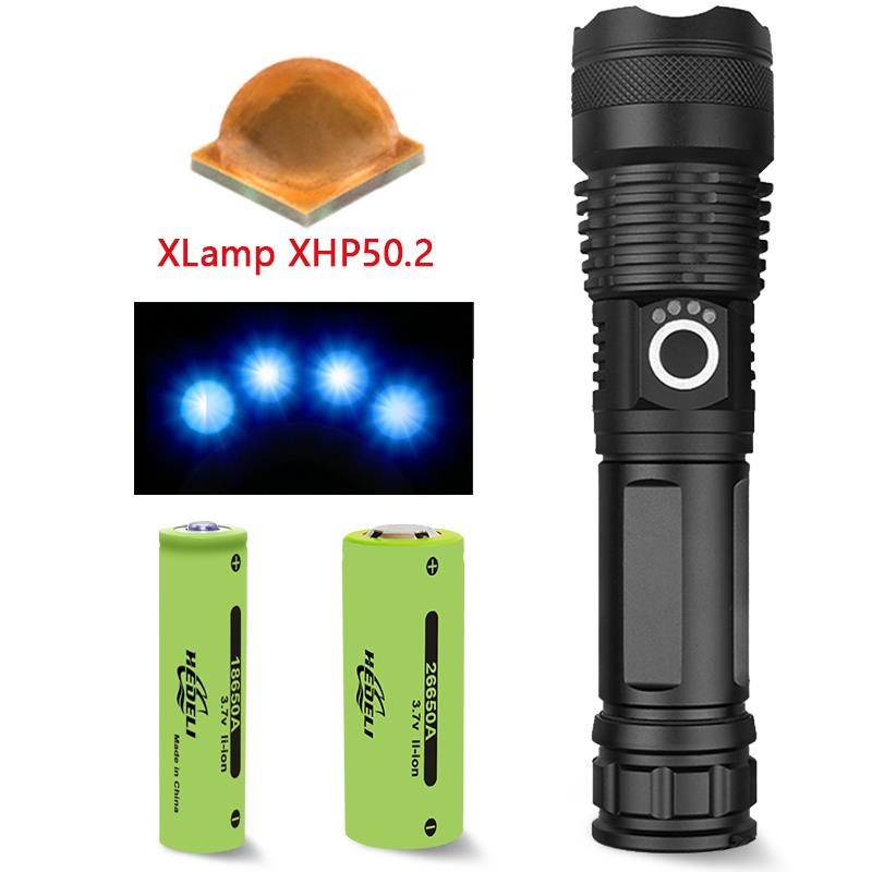 40000 lumens most powerful led flashlight xhp50 usb Zoom led flashlight 18650 rechargeable work hand lamp xhp50.2 torch 26650 Люмен