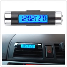 FUXUAN 2in1 Car Digital LCD Clock & Temperature Display Electronic Clock Thermometer Car Accessories Blue Backlight With Clip