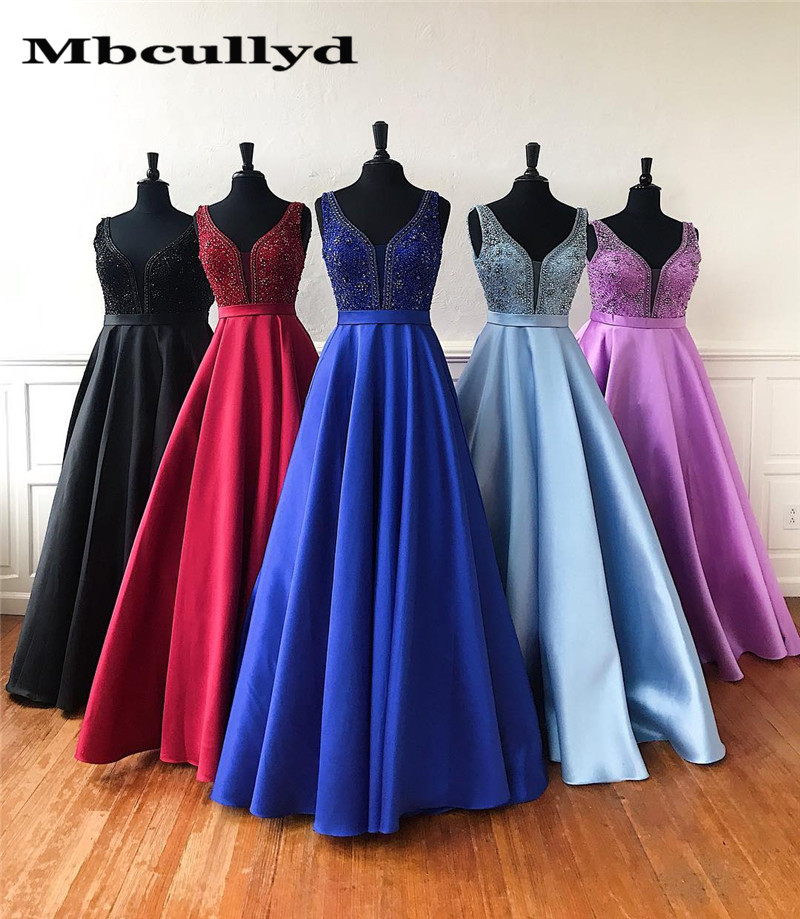 Mbcullyd Glitter Crystal A-line Prom Dress 2019 Long Formal Lace Up Back Dresses Evening Wear For Women Red Vestido Longo Festa