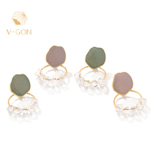 V-GON Fashion Gold Round Earrings Boho Handmade Pearl for Gold-color Female Party Jewelry V-DE0029