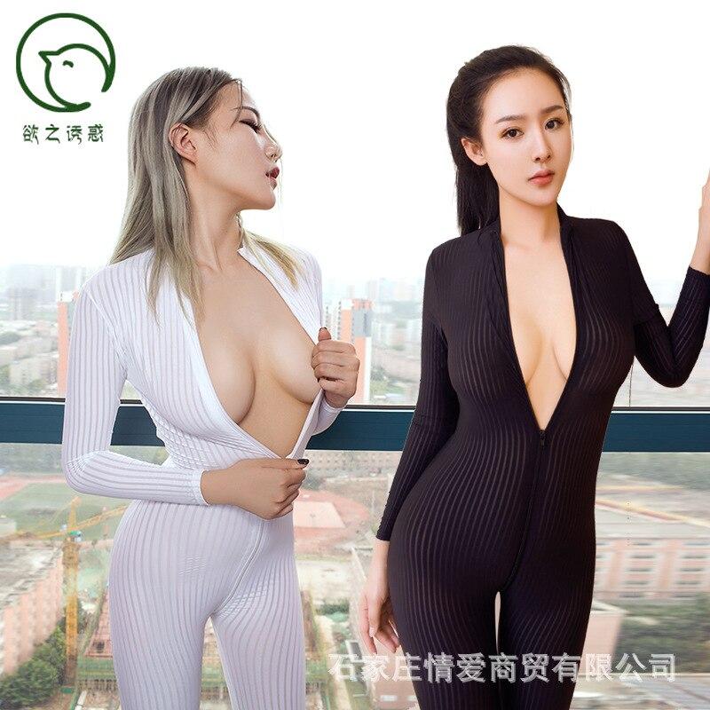 ZOGAA Dame Black/White Striped Sheer Sexy Bodysuit Smooth Fiber 2 Zipper Long Sleeve   Jumpsuit