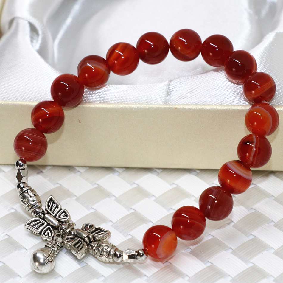 Original women strand bracelet natural stone red veins onyx agat carnelian 8mm round beads buddha pendant jewelry 7.5inch B2078