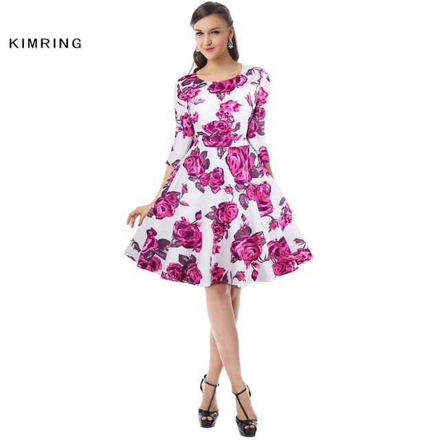 Kimring Sommer Vintage Plus Größe Kleid Hepburn Frauen Hohe Taille 1950 60 s Cocktails A-linie Rockabilly Rose Robe Retro Swing kleid