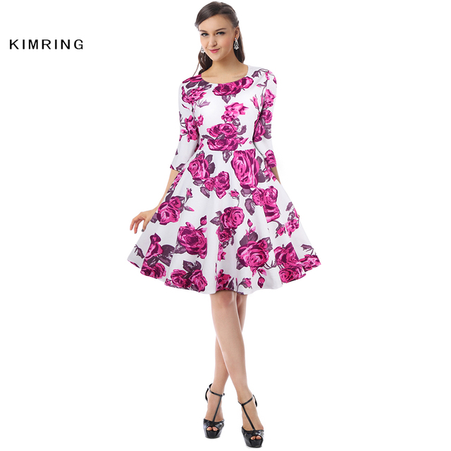 5b521177885 Kimring Summer Vintage Plus Size Dress Hepburn Women High Waist 1950 60s  Cocktails A-line