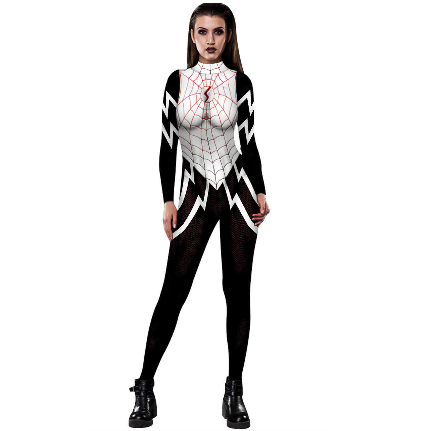 3D digital printing long-sleeved high-neck fashion ladies tights game role-playing stage festival zipper tights