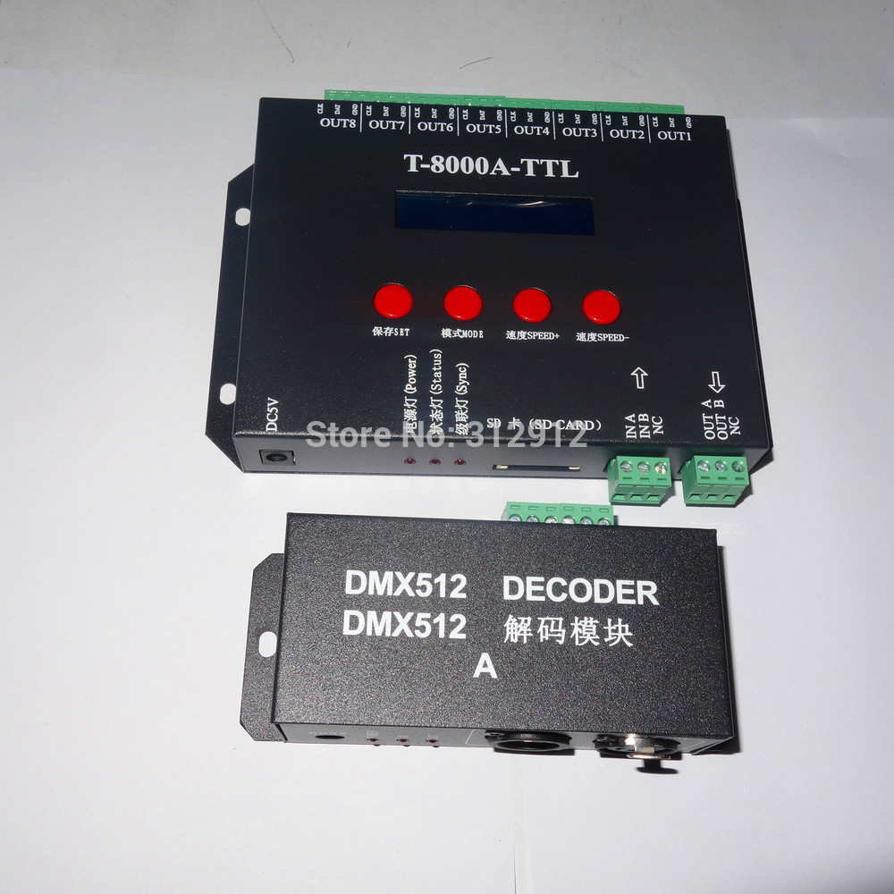 T 8000A TTL DMX,SD card LED pixel controller;off line;SPI signal output;with DMX512 decoder,with dmx console to select patterns