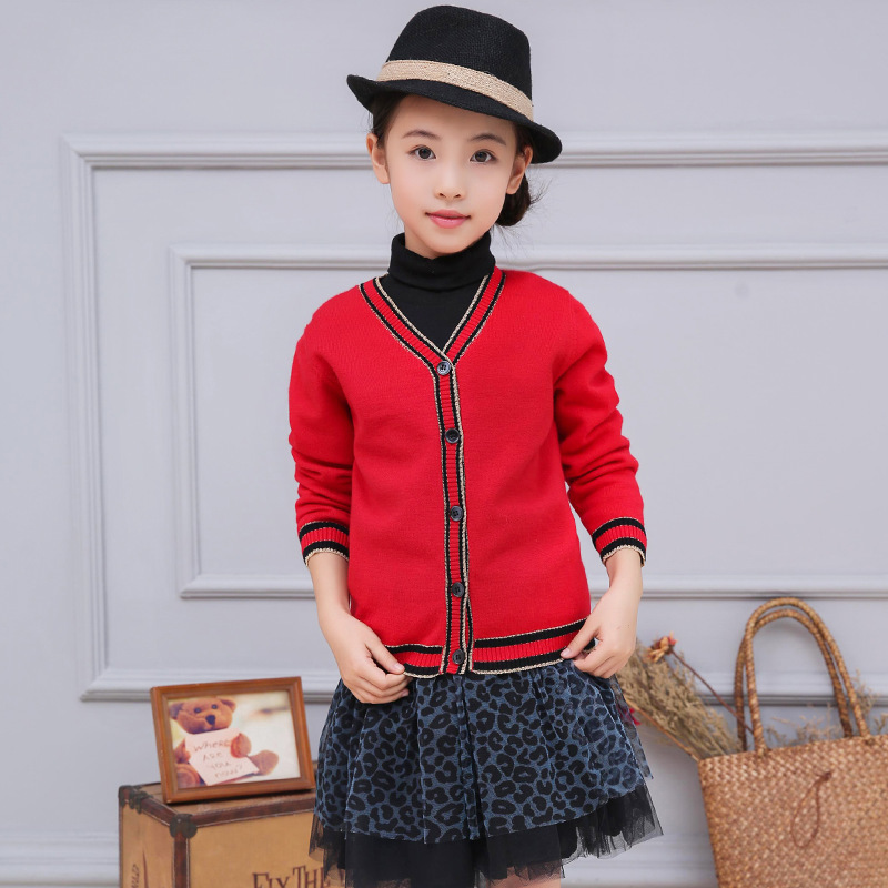 2016 Fashion Cardigan Sweaters For Girl Christmas Kids Clothes Girls Knitted Sweater Children Solid Jumpers V-neck Cotton Knit t100 children sweater winter wool girl child cartoon thick knitted girls cardigan warm sweater long sleeve toddler cardigan