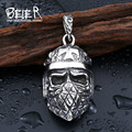 Beier Cool Plated silver Cross Skull Pendant 316L Stainless Steel Man's Biker Punk necklace pendant Personality Style BP8-207