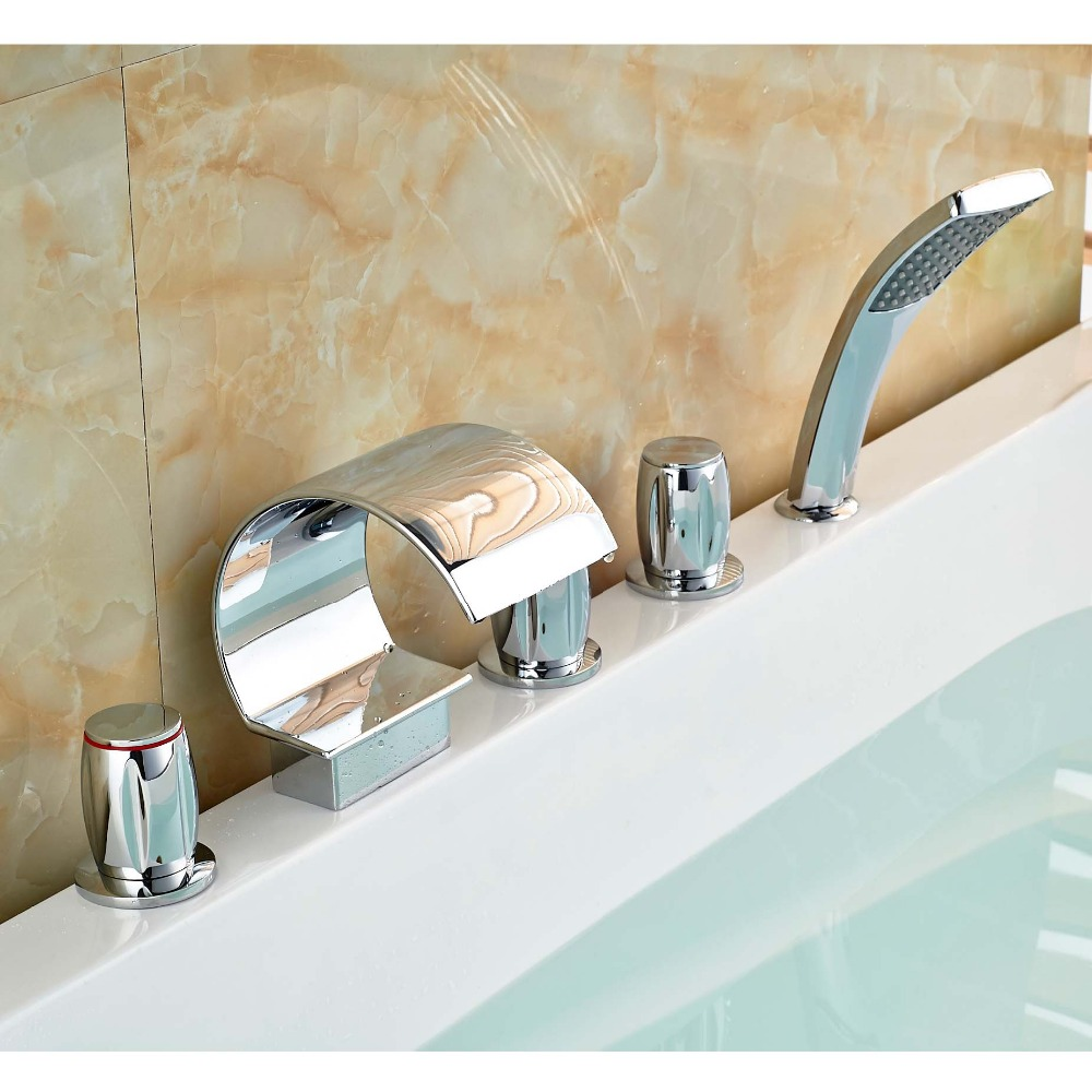 Deck Mount Waterfall Widespread Bathroom Tub Faucet Three Handles Mixer Taps for Bathtub with Handheld Shower