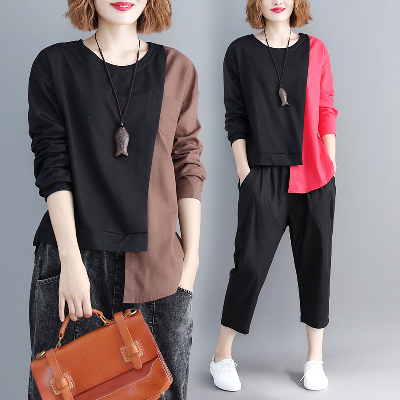 SHENGPALAE 2019 New Spring Casual Patchwork Long Sleeve Round Collar Irregular Hem Women Loose Big Szie Fashion T-shirt FL225 12
