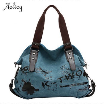 2f9dbf1e9a142 Aelicy Graffiti Vintage bolso de las mujeres de alta calidad bolso de mano  de lona mujer famoso diseñador bolso de hombro bolso bolsa feminina
