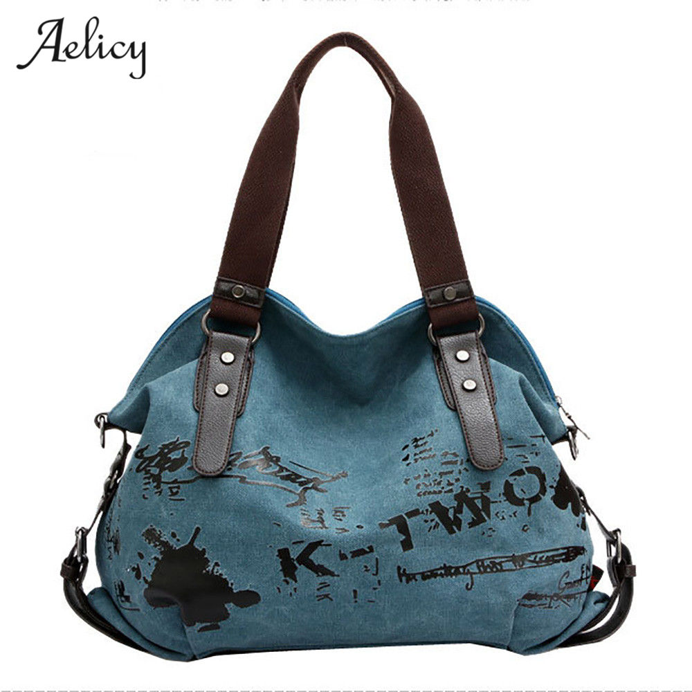 Vintage Graffiti Bag  Canvas Handbag Female Famous Designer Shoulder Bag Ladies Tote Bolsa Feminina