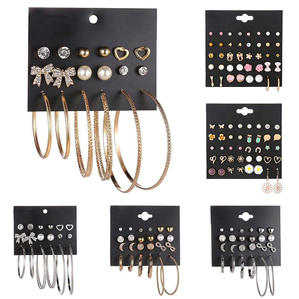 20/12/9 Pair/Lot Hot Cute Resin Flowers Animals Simulated Pearl Ear Stud Earrings Set For Women Girls Rhinestone Silver Jewelry