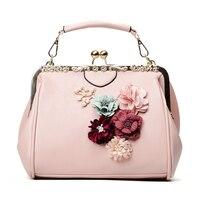 Fashion Handbags Design Totes Shoulder Bags for Women 2019 Flower Metal Frame Handbag Beaded PU Crossbody Bag sac bolsa feminina