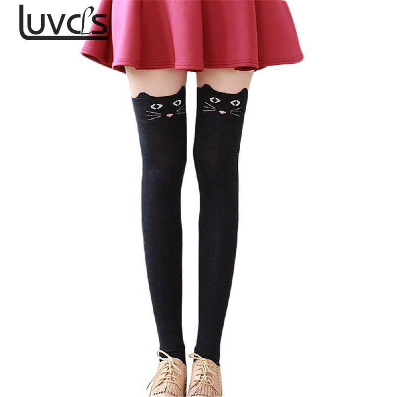 LUVCLS Women Cotton Long Socks Cartoon Bear Over Knee Sock Sexy Thigh High Stock Autumn Winter Warm Socks Cat Long Stocks
