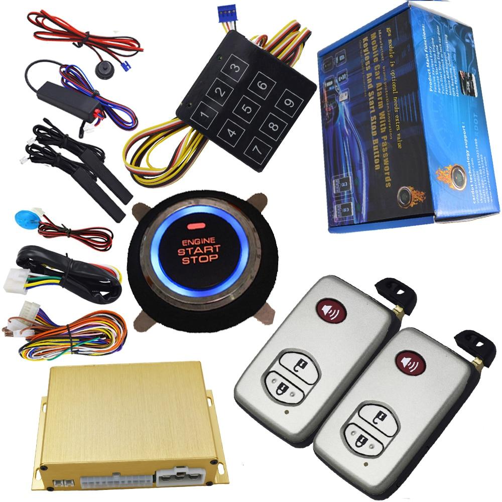 Démarrage intelligent alarme de voiture automatique pke avec clés intelligentes spéciales verrouillage central automatique démarrage à distance sans clé arrêt moteur par clé intelligente