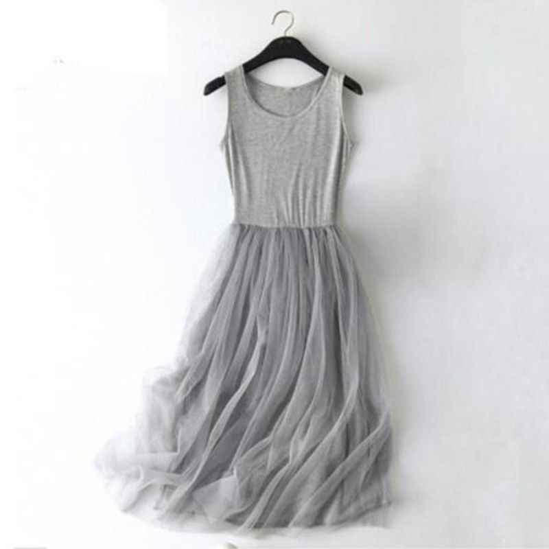Sans manches maille patchwork base spaghetti sangle robe pour les femmes 2019 printemps Tulle élastique dentelle gilet robe d'été femme