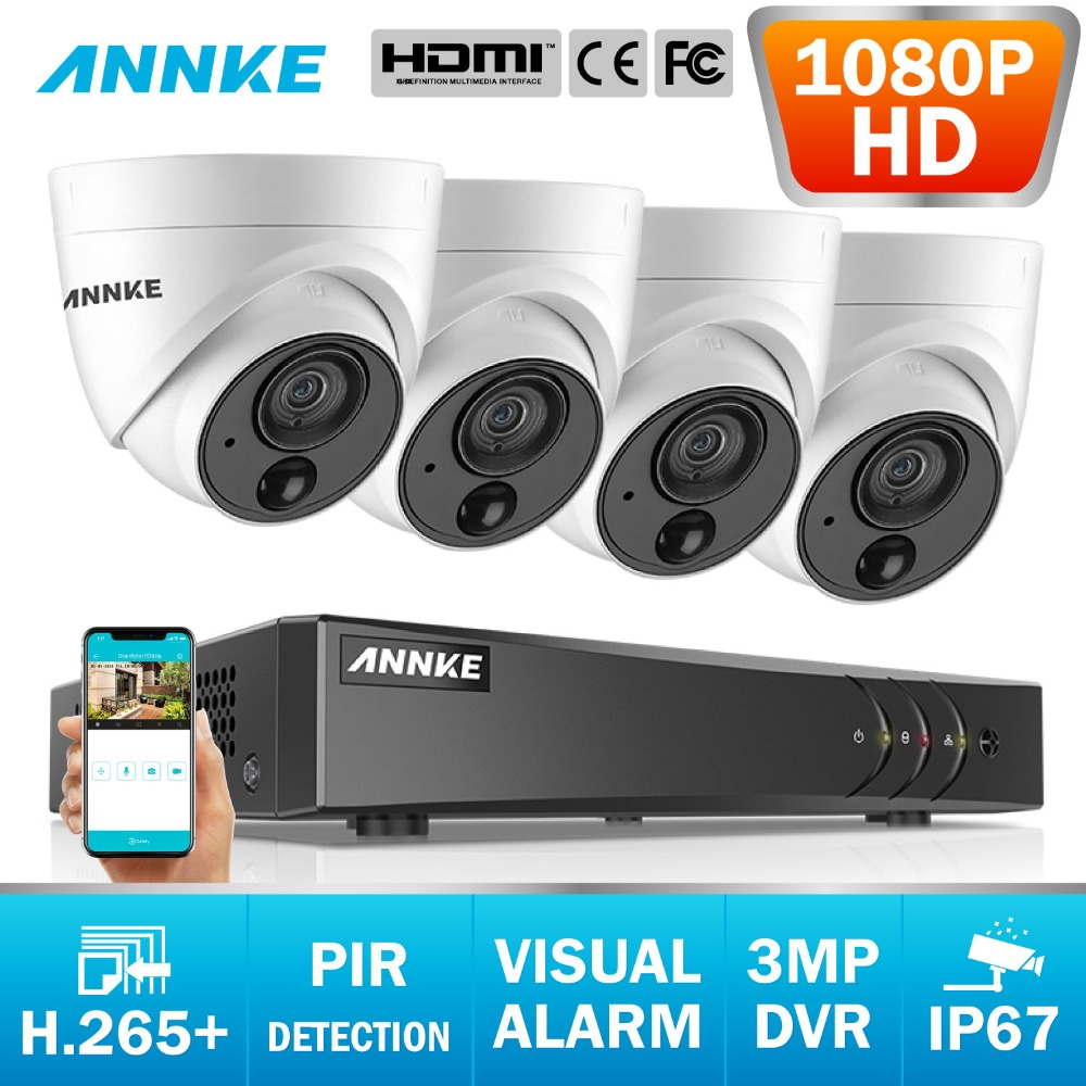 ANNKE 8CH 3MP 5 in 1 CCTV DVR HD 4PCS TVI Security Camera PIR Detection Outdoor