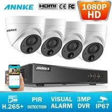 ANNKE 8CH 3MP 5-in-1 CCTV DVR HD 4PCS TVI Sicherheit Kamera PIR Erkennung Outdoor Dome kamera Home Video Surveillance System Kit