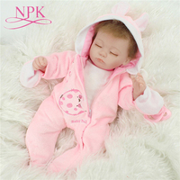 NPK 40CM Real Silicone Girl doll Reborn Baby Girl's Toys Soft Cloth body Lifelike Newborn Babies bebes Reborn Doll Toy Gift Gril
