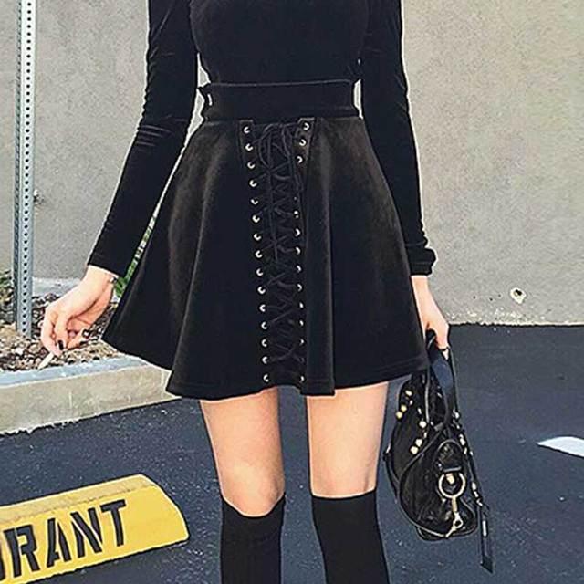 Women Punk Lace Up Pleated Mini Skirt Kpop Rockabilly Skirt Tumblr Velvet Winter Harajuku Goth High Waisted Short Black Skirt