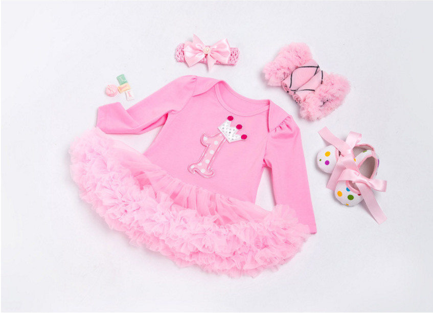 Baby Birthday Set Long Sleeve Roupas Infantis Bebes 1st Children Outfit Romper Lace Tutu Dress Girls Newborn Party Clothing Sets new baby girl clothing sets infant easter lace tutu romper dress jumpersuit headband 2pcs set bebes first birthday costumes