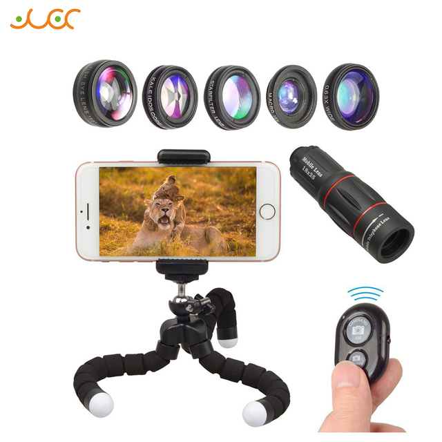 APEXEL 8in1 mobile phone Lens Kit Fisheye Wide Angle macro 18X telescope Lens for iphone xiaomi samsung galaxy android phones
