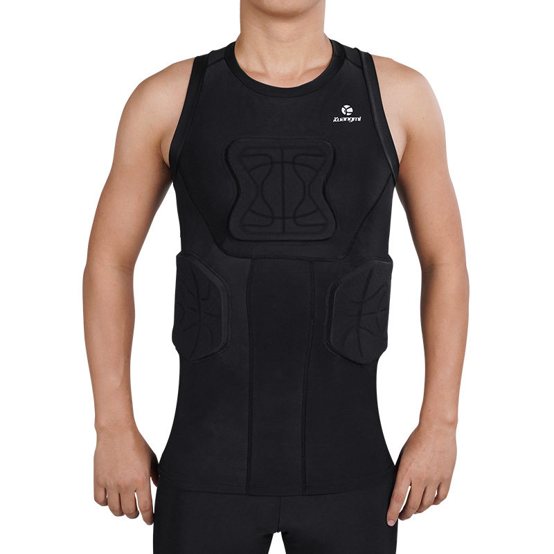 Kuangmi Men's Training Suit Running Soccer Training Tights Basketball Vest Protection crashproof Gym Sportswear Track Suits - 4