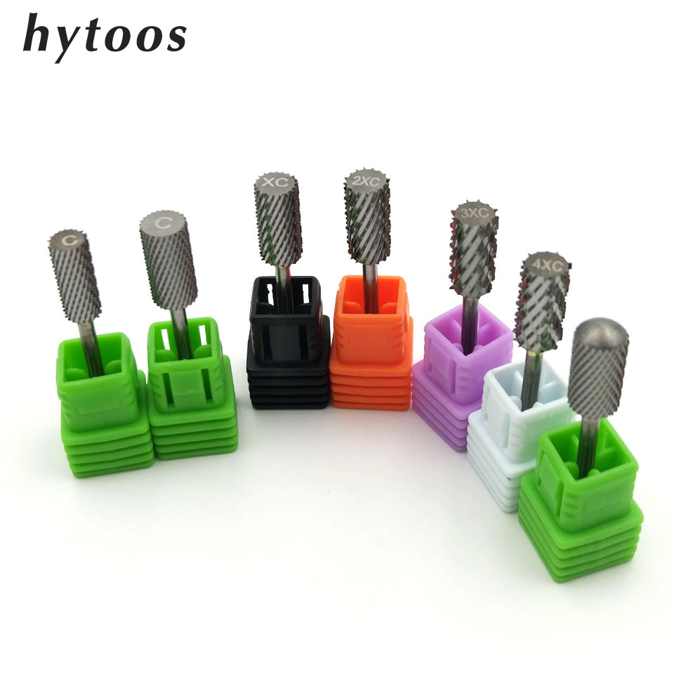 HYTOOS 7 Size Barrel Tungsten Carbide Nail Drill Bit 3/32 Rotary Burr Milling Cutter Bits For Manicure Drill Accessories Tools hytoos tungsten carbide nail drill bit 3 32 rotary burr milling cutter manicure pedicure tools nail drill accessories h0413p