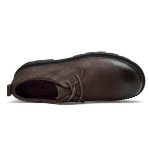 Image 3 - High Quality Genuine Leather Men Winter Boots Lace Up Warm Plush Snow Boots Ankle Botas Fashion Men Boots Plus Size 38 46