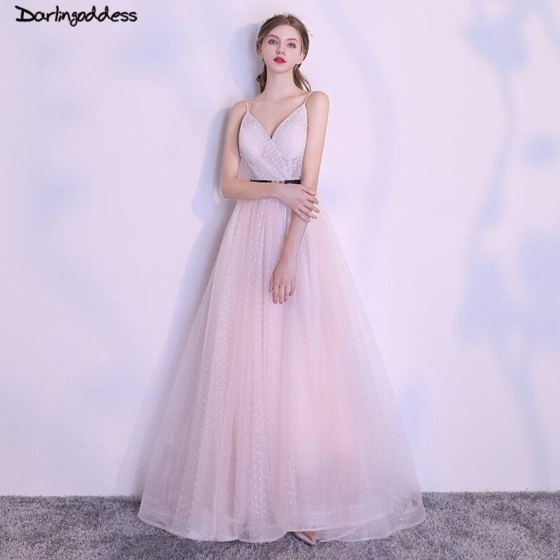 Robe élégante longue rose Spaghetti sangle robes de soirée 2018 Sexy col en V à lacets femmes robe de grande taille offre spéciale robe de soirée formelle