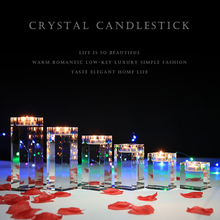 New Arrived K9 Clear Quartz Crystal Cube Tealight Candle Holder Glass Holders For Wedding Candelabra Centerpieces