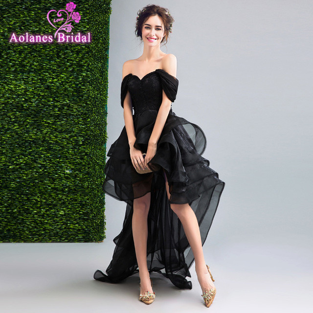 AOLANES 2017 Off The Shoulder Evening Dress Sleeveless Hi Low Party Dress Black Lace Prom Dresses Party Gown Robe De Soiree