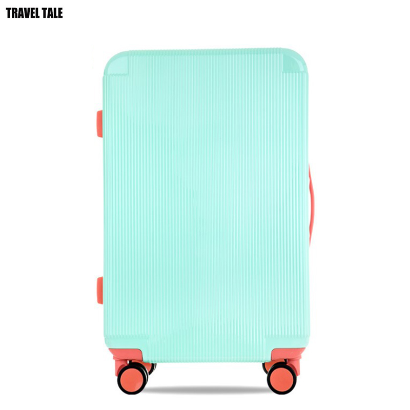 "TRAVEL TALE 20""24"" carry on suitcase spinner pc abs cute travel trolley cabin luggage for girl"