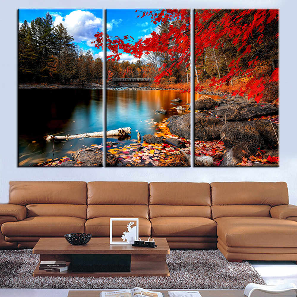 Canvas Painting Red Lake Tree Landscape Quadros Decoration Oil Picture Scenery Wall Art Picture for Living Room No Frame 3 Piece