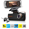 "Hot selling 2.7"" Vehicle Car DVR Camera Video Recorder Dash Cam G-Sensor GPS Dual Len Cam 1080P Camcorder"