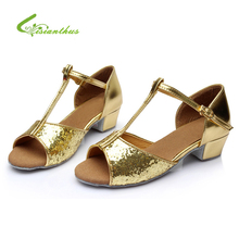 2017 New Fashion Little Kid Latin Peep-toe Sparkling Strap Shoes Princess Soft Girls Shoes T-Strap Sequins Beautiful Sandals