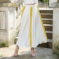 VOA тяжелый шелк длинная белая юбка плюс Размеры 5XL плиссированные юбки женские простые Повседневное Краткое Основной пикантные с низкой тал