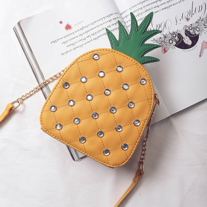 Fun Pineapple Stylish Fashion Yellow & White Chain Shoulder Bag Handbag ladies purse womens crossbody mini messenger bag flap