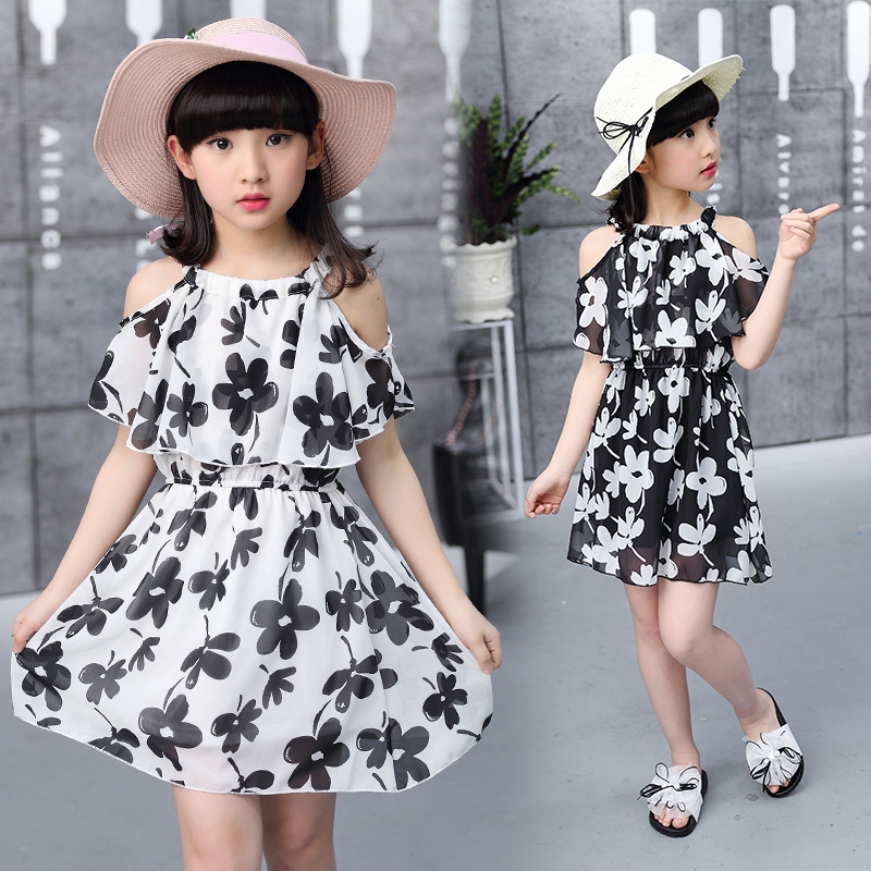 Children <font><b>Summer</b></font> Chiffon <font><b>Dresses</b></font> 2019 New Flower Print <font><b>Girl's</b></font> Clothing Baby Kids Princess <font><b>Dress</b></font> <font><b>For</b></font> 3 to <font><b>12</b></font> <font><b>Years</b></font> <font><b>Old</b></font> Clothes image