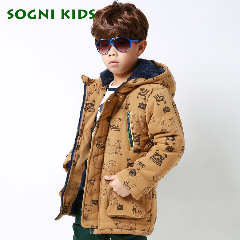1-5 Yrs boys winter outerwear Plus velvet thickening hooded jacket coat Cartoon Bear print casual kids baby boys jacket Cardigan