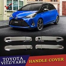 Wysokiej jakości ABS poszycia dla Toyota Yaris Vitz 2016-2019 klamka cekiny pokrywa wykończenia naklejki do samochodów Car Styling
