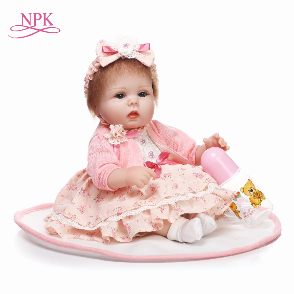 NPK 18 Handmade dolls reborn silicone realistic bonecas reborn adora dolls with rooted hair baby girl